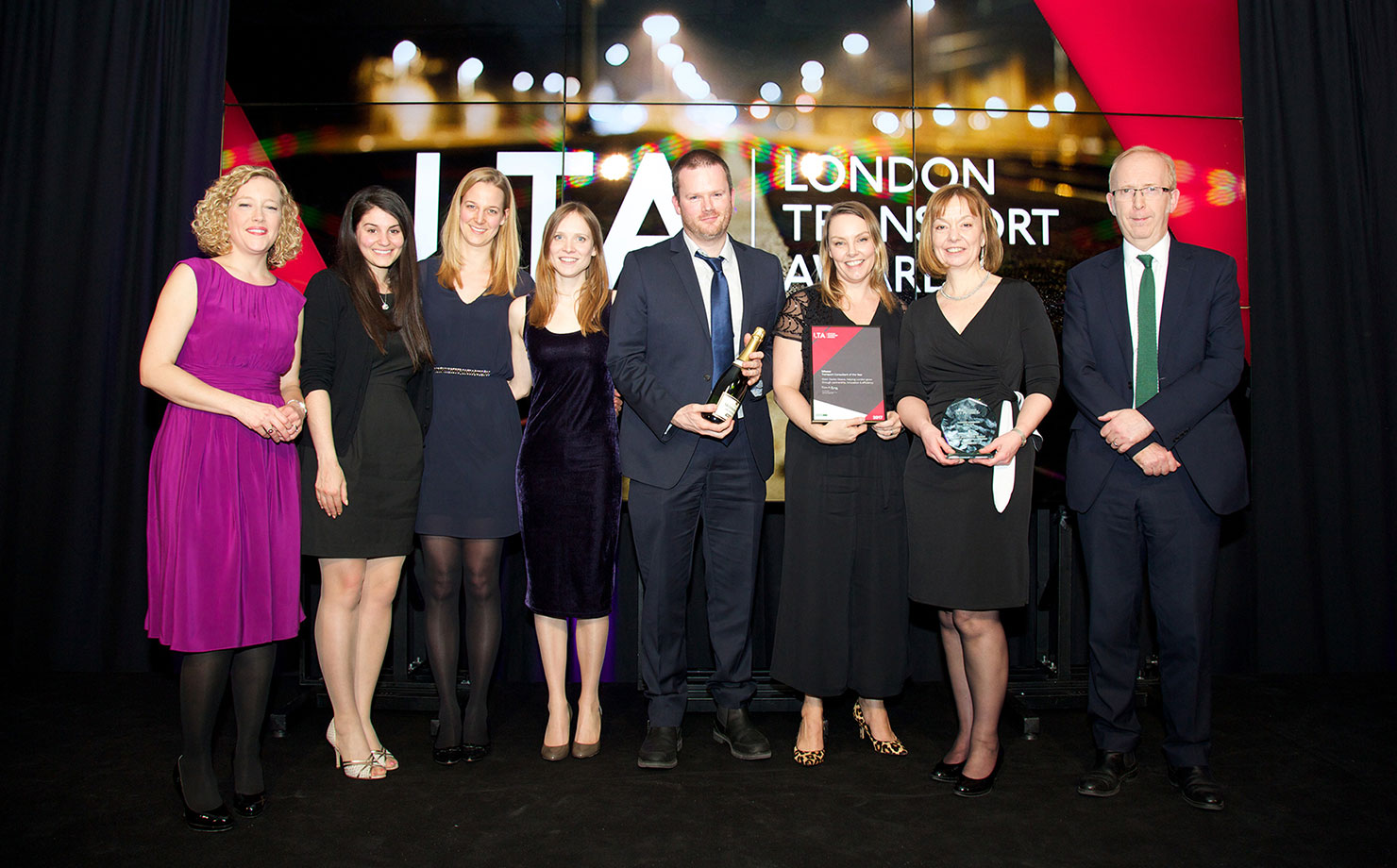 The team accepting the Transport Consultant of the Year award at the London Transport Awards 2017